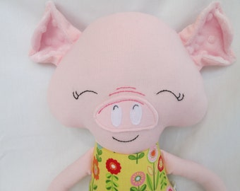 Pig Softie with Yellow Floral Dress- 18 inches- Ready to Ship