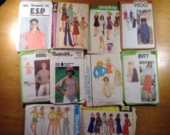 1970s Sewing Patterns Lot of 10