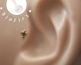 TRAGUS Tiny Cross 16 gauge/ BioFlex/ 24k gold plated/ Sterling silver/ tragus earring/labret earring/heart tragus/ cartilage earring/ helix