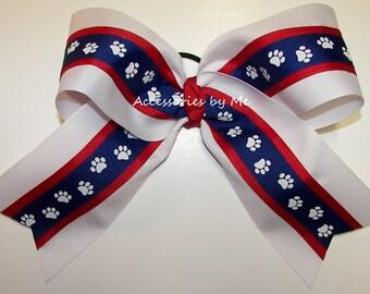 Big Cheer Bow, Louisiana Tech Bulldogs Bow, Red White Blue Bow, Paw Print Ribbon, Cheerleader Football Softball Volleyball Bulk Cheap Bows
