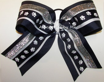 Big Cheer Bow, Blue Nittany Lions Cheerbow, Penn State Spirit Cheerleader Bow, Navy White Silver Sparkly Ribbon, Girls Cheer Team Hair Clip