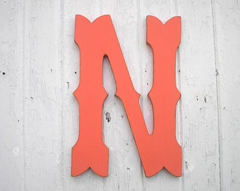 Wooden Letters 18 inch N Tropic Orange Western Cowboy font Wedding decor Kids Wall Art Nursery Letters