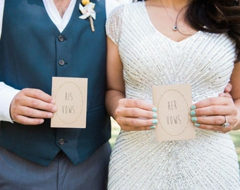 """Wedding Vow Books - Set of 2 - Personalized and Customized - 3.5"""" X 5"""" Jotter Size"""