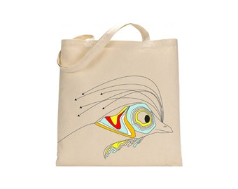 rooster fish bag, cotton student tote, shopping bag, gift for her, unique tote, bird print, hand drawn