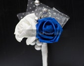 Wedding boutonniere, winter boutonniere, Royal blue and silver button hole, blue and silver wedding flower, mens wedding boutonniere