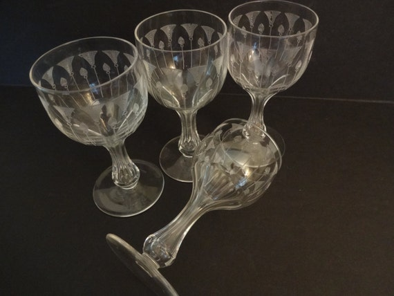 Antique bryce etch 410 crystal hollow stem by rowlandparkvintage - Hollow stem champagne glasses ...