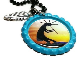 Kokopelli jewelry, southwest art, native style, Bottle Cap Necklace, Jewelry Pendant, Bottle Cap , Ball chain necklace, necklace