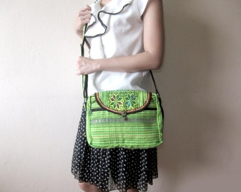 Cross body Hmong Bag, Shoulder Bag, Vintage Hand Embroidered Textiles by Hmong in Thailand. (KP1235)