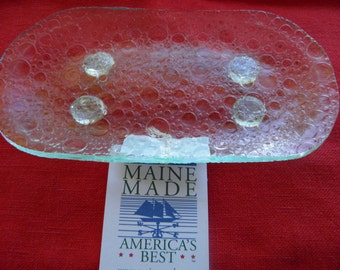 Clear Bubble Textured Stained Glass Soap Dish