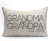 "grandparent gift, grandma, grandpa, birth announcement, personalized pillow ""The Grandma & Grandpa"""
