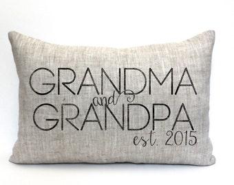 "grandparent gift, grandma gift, grandpa gift, birth announcement, personalized pillow ""The Grandma & Grandpa"""