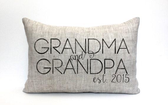 christmas gift, grandparent gift, grandma, grandpa, birth announcement, personalized pillow