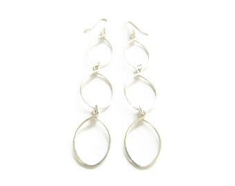 Sterling Silver Triple Hoop Dangle Earrings Handmade Jewelry for Her Under 30