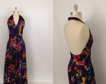 Vintage Floral Halter Dress