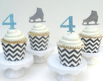 Ice Skating Cupcake Toppers for a Birthday Party in Blue, Silver, Pink, or Gold
