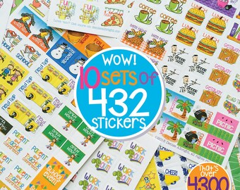 "Moms!  4300+ Mini Planner Stickers to stylize any calendar, school + work. Size 3/4"" x 3/4"" [10 packs of 432 stickers, U-save] [Item #2001]"