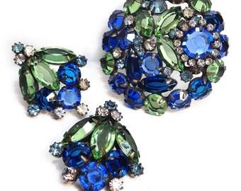 Juliana Blue/Green Brooch & Earring Set