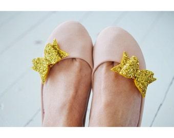 Golden Wedding Bow Shoe Clips, Gold Glitter Bow Shoe Clips, Metallic Wedding Shoeclips, Party Shoeclips