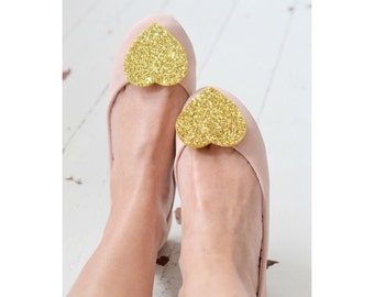 Gold Glitter Heart Shoe Clips Big, Bridal Shoeclips, Golden Shoe Accessory, Glitter Party Clips