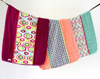 Baby Burp Cloth Gift Set of 3, Colorful Geometric Retro Chevron.