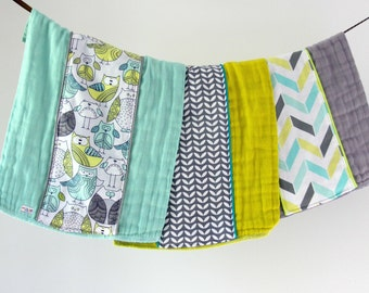 Baby Burp Cloth Gift Set of 3, Aqua, Chartreuse and Gray Owls and Chevron