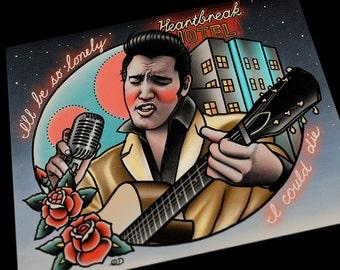 Elvis Presley Tattoo Flash Art Print