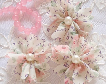 3 Handmade Chiffon Flowers Fabric Flower With Pearl (2-1/4 inches) MY-369-09 Read My To Ship