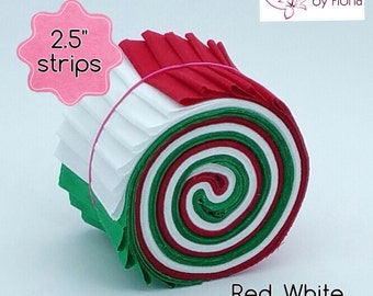 "18 Christmas Jelly Roll PreCut Fabric Strips, 2.5 inch, 2.5"" x WOF, Die Cut"