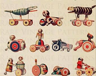 17 Vintage Wooden Toys Illustration Scrapbooking Decoupage Altered Art 300dpi 8.5x11 Jpg Instant Download