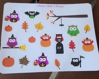 Halloween owl stickers For Planner, Erin Condren, Filofax, Scrapbooking