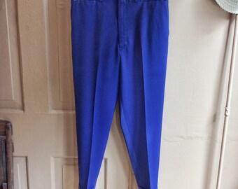 Vintage 1950s/60s Rayon Gabardine Royal Blue Flat Front Workwear Pants. Size 34x29.5 1089