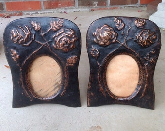 Pair Of Old Antique Hammered Copper Roses Arts And Crafts Art Nouveau Picture Frames L815C50