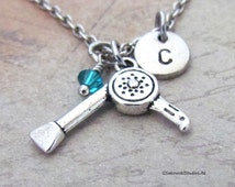 Hair Blow Dryer Charm Necklace, Personalized Antique Silver Hand Stamped Initial Hairdryer Charm Necklace