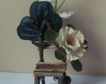 Fairy chair, pink flowers, dollhouse miniature 1/12