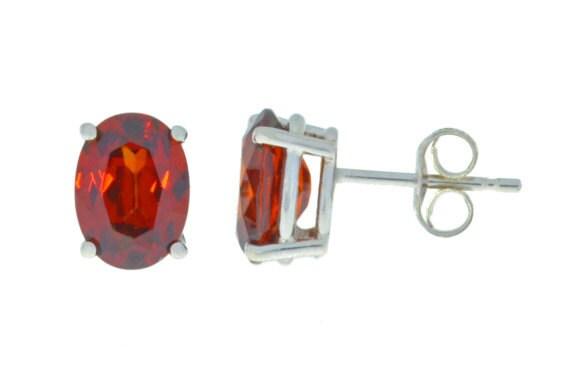 Garnet Oval Stud Earrings .925 Sterling Silver Rhodium Finish