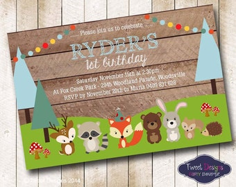 WOODLAND Animals Invitation, Printable Birthday Invitation, 1st Birthday Woodland Animals Invitation,Woodland Forest Animals Boy Invitations