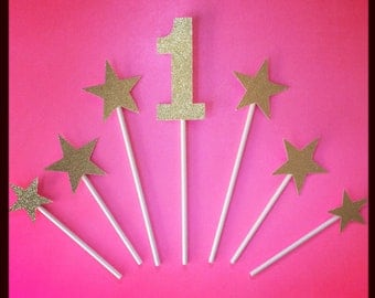 7 Piece GOLD or SILVER Star Birthday Cake Topper Smash Cake Topper Any Number