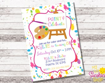 Painting Party Birthday Invitation | Art Party | Little Artist | Any Age Birthday | Girl's Birthday | Create and Celebrate | Digital