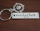 Wanderlust ~ LIGHT WEIGHT Aluminum Key Chain with Compass Charm