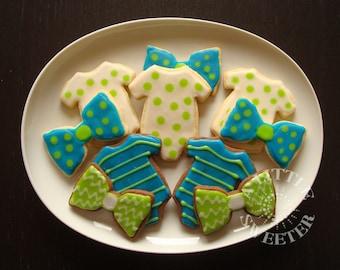 Little Man bodysuit bowtie cookies 1 dozen