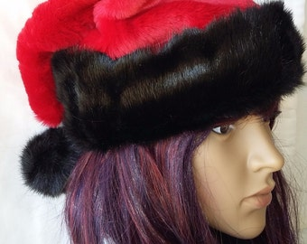 Red Santa hat with short and Shaggy black trim options