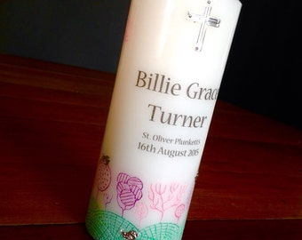 Baptism / Christening / Naming Day candle 'Forest' pink and green