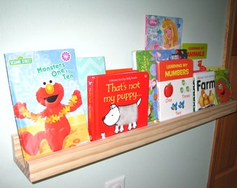 Small Wooden Wall Shelf - Toddler/Children's Bookshelf