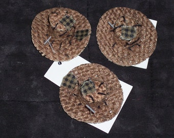 "set of 3 small burlap scarecrow  hat,2"",Darice,fingertip sized,Halloween,fall,doll-making,crafts.finger puppet"