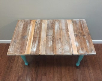 SOLD - Teal and Distressed Whitewashed Table