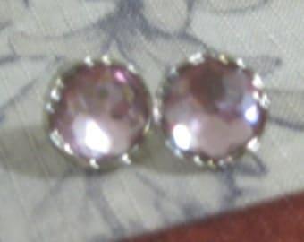 Pink Crystal Post Earrings