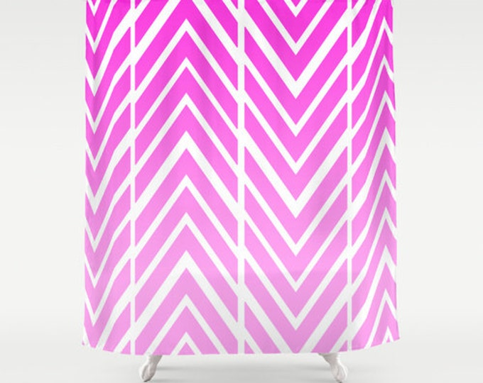 Pink Shower Curtain - Pink and White Arrow Shower Curtain - Bathroom Decor - Made to Order