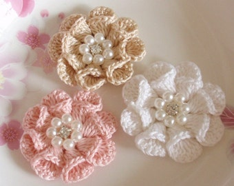 3 Crochet  Flowers With Pearl And Rhinestone In 2 inches YH -312
