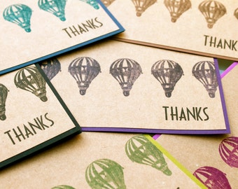 Thank You Notecards, Hot Air Balloon Thank You Cards, Thank You Notes, thank you cards set, Steampunk Thank You, Balloon Thank You, handmade