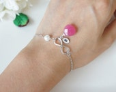 Infinity Bracelet with Pearls. Fushia Jade. Initial. Birthstone. Bridesmaid Gift. Everyday Bracelet. Girlfriend Gift. Birthday Gift.